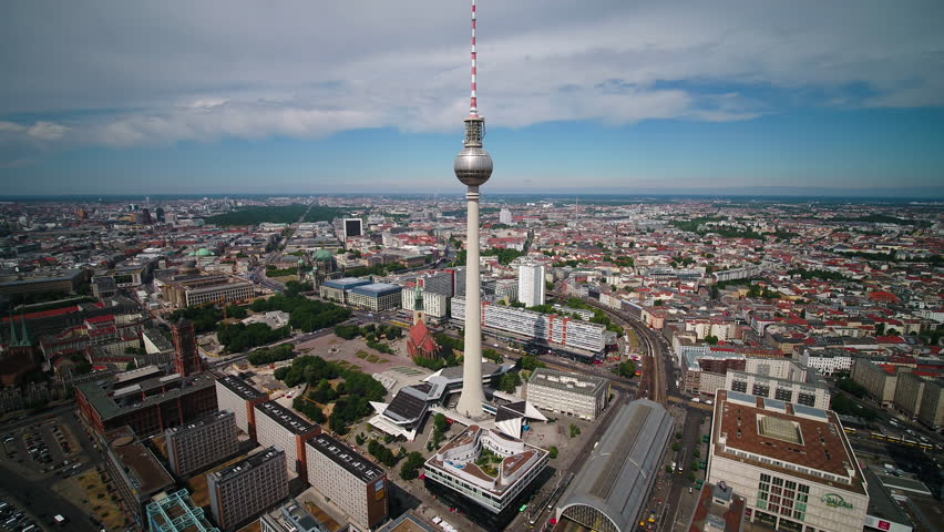 Aerial Germany Berlin June 2018 Sunny Day  Aerial video of downtown Berlin in Germany on a sunny day with a wide angle lens.
