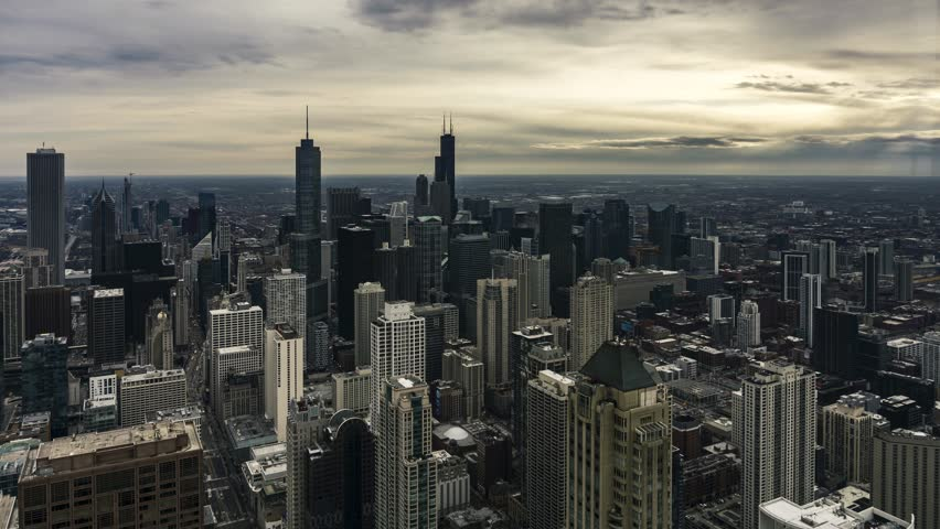4K Aerial Time Lapse of the Chicago Skyline on a Cloudy Day (motion) | Shutterstock HD Video #1025827958