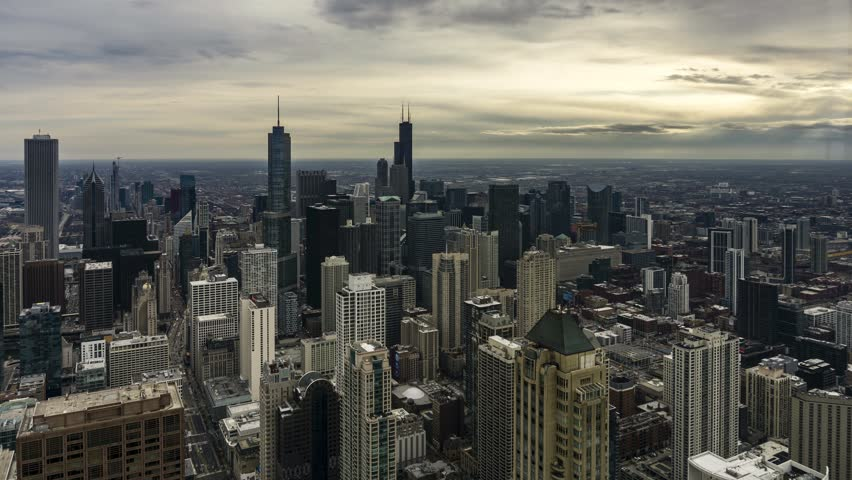 4K Aerial Time Lapse of the Chicago Skyline on a Cloudy Day | Shutterstock HD Video #1025827964