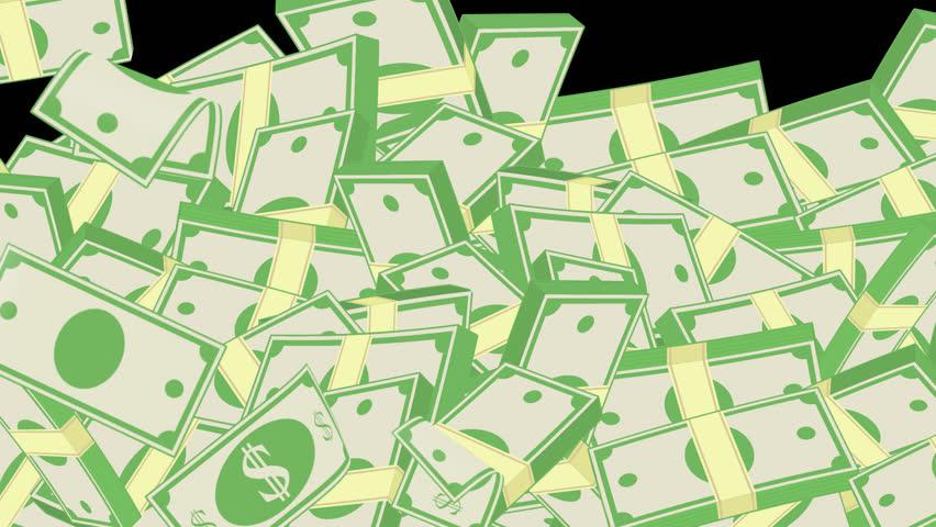 Realistic Falling Cartoon Pack of Dollar Bills | Shutterstock HD Video #1025840720