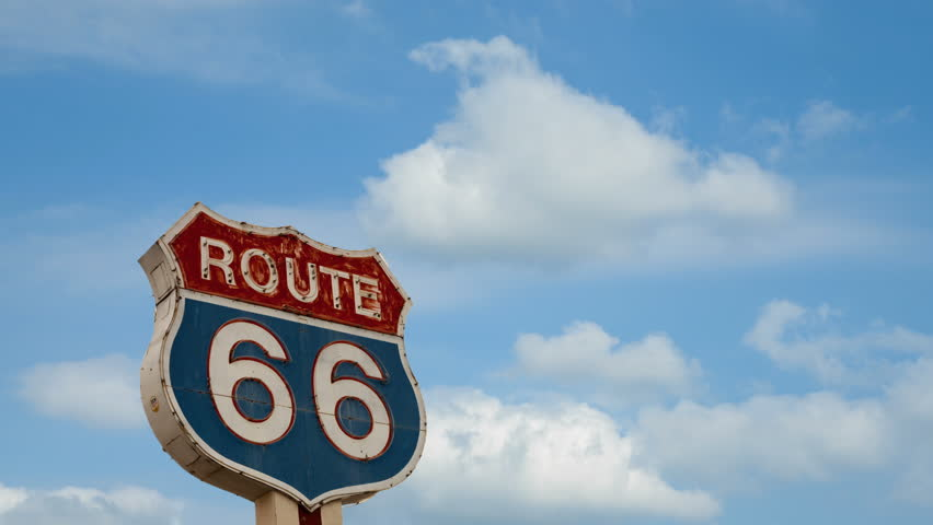 Time lapse of route 66 road sign in USA