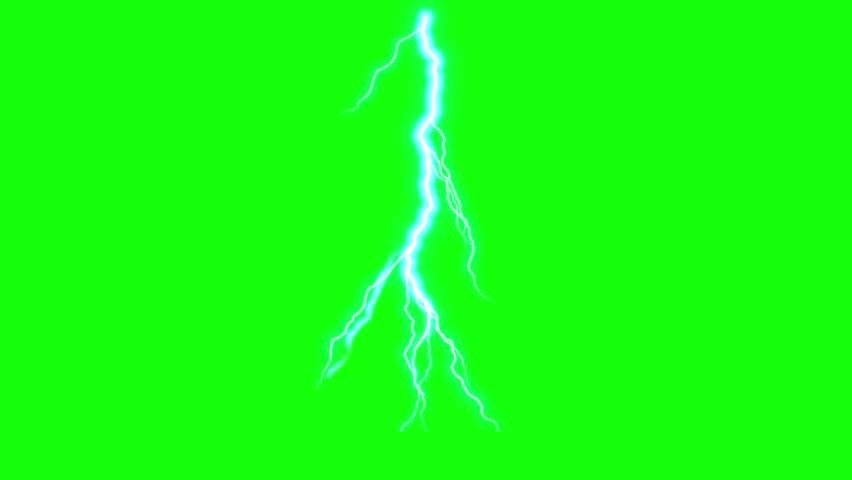 Animated lightning thunderbolt, cartoon thunder on a green background   Shutterstock HD Video #1025877341