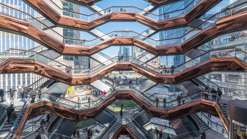 The Vessel - Hudson Yards, Timelapse of People Walking Stairs, Opening Weekend, March 17, 2019, New York City, NY, USA