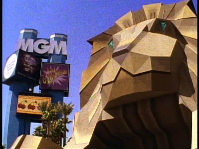 LAS VEGAS, NEVADA, 1994, MGM Grand Hotel, old lion entrance, the Las Vegas Strip