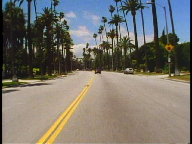 BEVERLY HILLS, CALIFORNIA, 1994, POV car driving down palm lined street