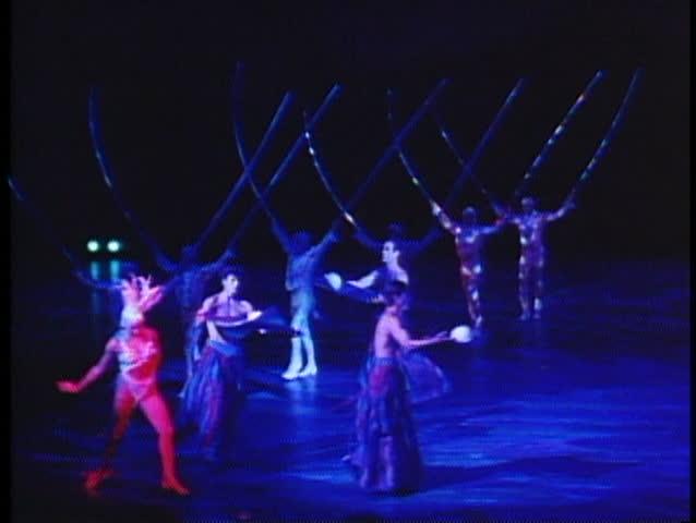 LAS VEGAS, NEVADA, 1994, Cirque de Soleil, Mystere, three jugglers, lavish show