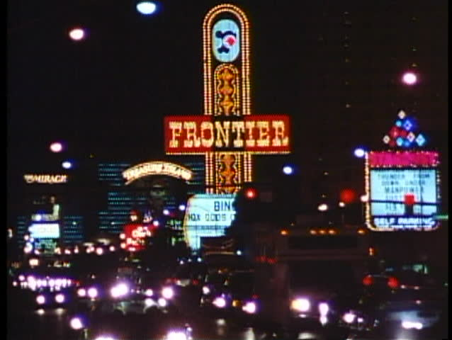LAS VEGAS, NEVADA, 1994, Night on the Strip, traffic, neon signs, Frontier Hotel