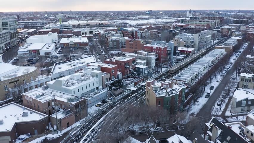 4k Winter Aerial of CTA Train in Chicago's Lincoln Park Neighborhood