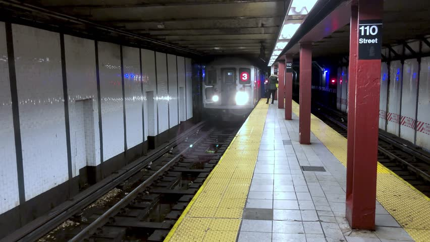 NEW YORK CITY - DECEMBER 4, 2018: Coming subway train in a Manhattan station. The city attracts 50 million people annually.