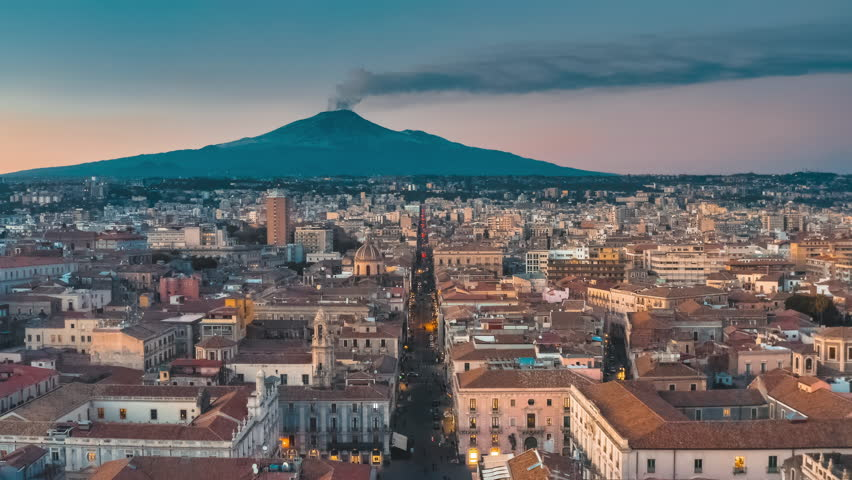 Amazing view of Volcano Etna, Catania, Sicily, Italy