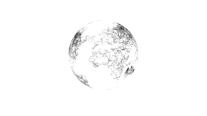 Earth rotating animation social future technology abstract 3Drendering scientific growth data network. Black on white.