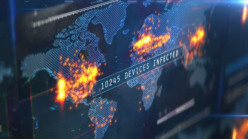 Number of gadgets and computers infected with virus, global hacking attack. Countdown of infected computers and devices Royalty-Free Stock Footage #1025942717