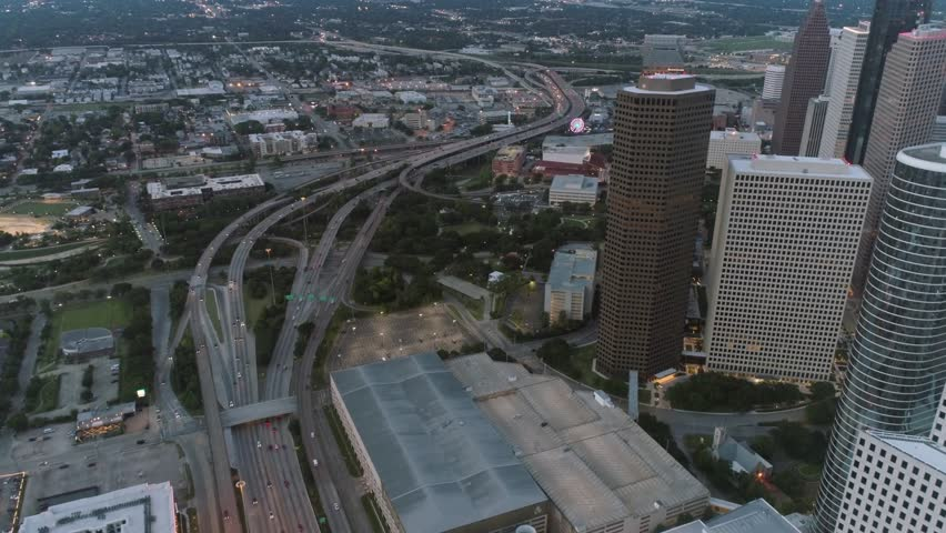 This video is about an aerial of traffic on freeway in downtown Houston. This video was filmed in 4k for best image quality. | Shutterstock HD Video #1025944775
