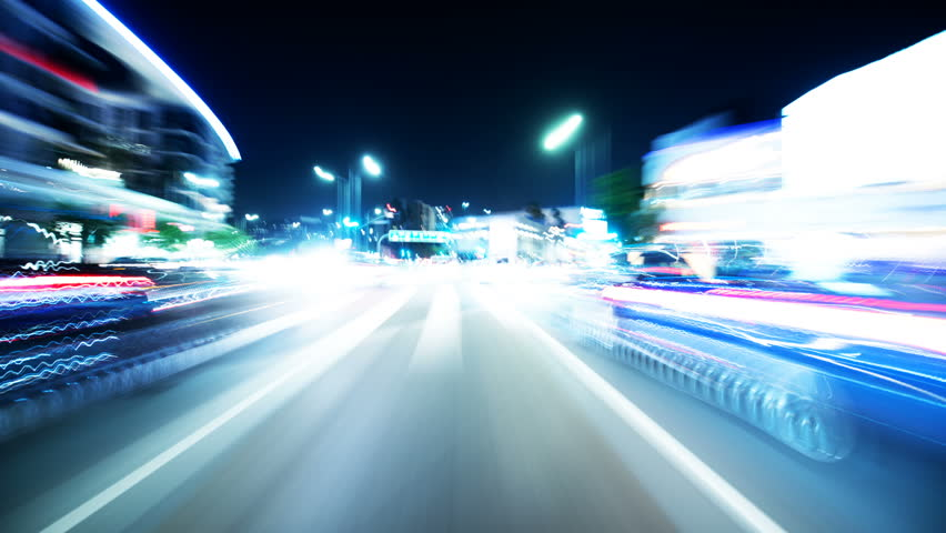 Driving Hyperlapse Front View VJ Loop Los Angeles Santa Monica Blvd | Shutterstock HD Video #1025958956