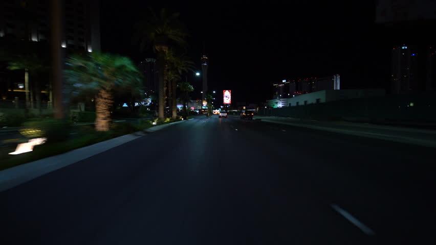 Las Vegas, Nevada, USA - Oct 12 2018 : Las Vegas Strip Driving Plate North Bound at Night 14 at Stratosphere #1025959310
