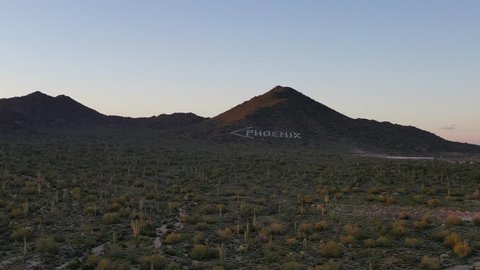 Aerial of the white Phoenix Arrow in Mesa, Arizona