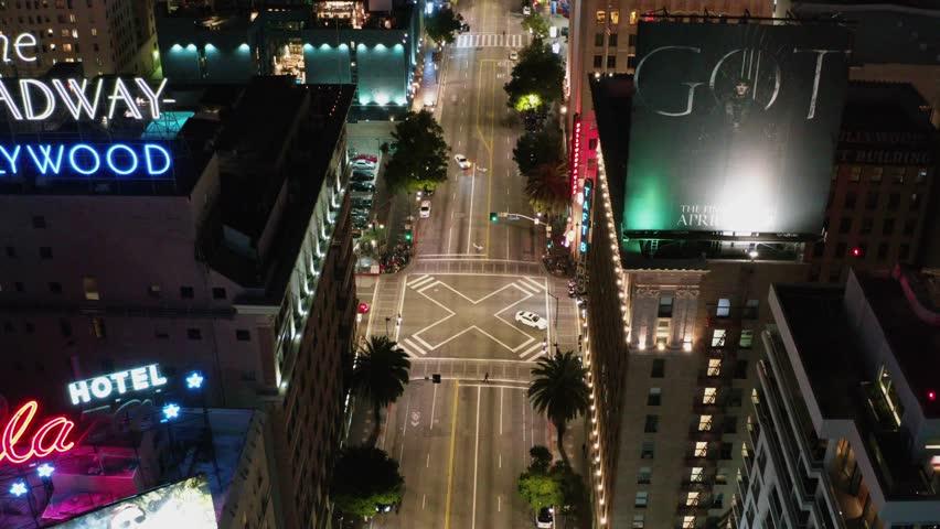 Cinematic Aerial of Hollywood in Los Angeles, California 01.01.2019