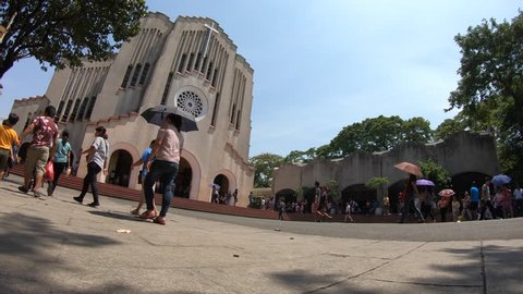 Manila, Philippines - 01 18 2019: Baclaran Church Time Lapse Philippines