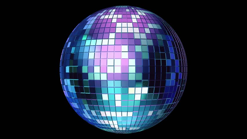 Light music disco ball animation on black background. Render disco ball in nightclub with shiny effects