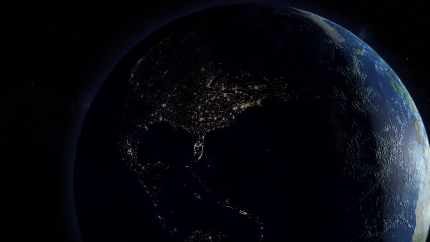 A simulated continental power outage as seen from space. North America version.   Royalty-Free Stock Footage #1026019589