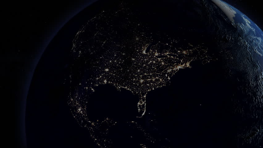 Power is returned after a continental power outage as seen from space. North America version.   Royalty-Free Stock Footage #1026022451