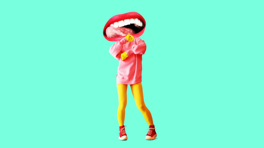 Fashion animation design. Dancing Funny lips girl