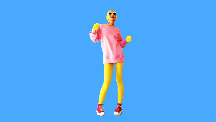 Gif animation design. Fashion Funny girl in colorful stylish outfit