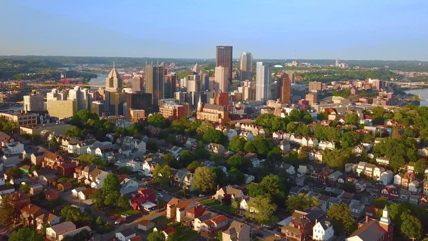 Aerial Pittsburgh skyline from Mount Washington