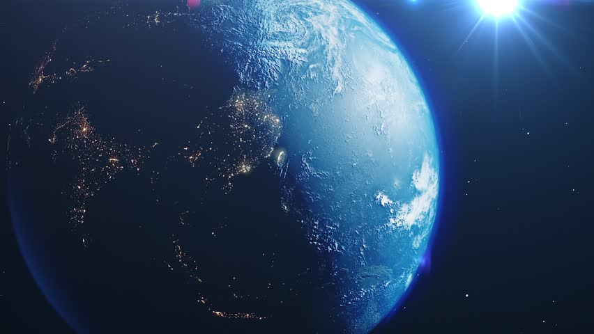 Beautiful sunrise world skyline. Planet earth from space. Planet earth rotating animation. Clip contains space, planet, galaxy, stars, cosmos, sea, earth, sunset, globe. 4k 3D Render. Images from NASA | Shutterstock HD Video #1026051710