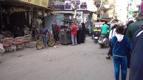 Cairo, Egypt - Feb 02 2019: Bazzar Shop in the Khan El Khalili market in Islamic Cairo