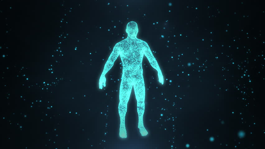 Human 3d hologram from point or dusts in motion. Human hologram in a cloud of compounds.