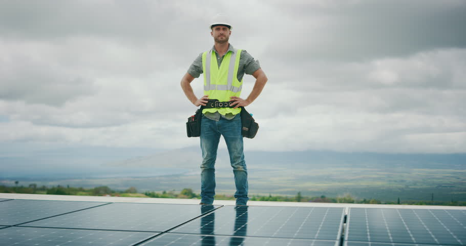 Green renewable energy jobs, portrait of solar panel technician, solar power future #1026077876
