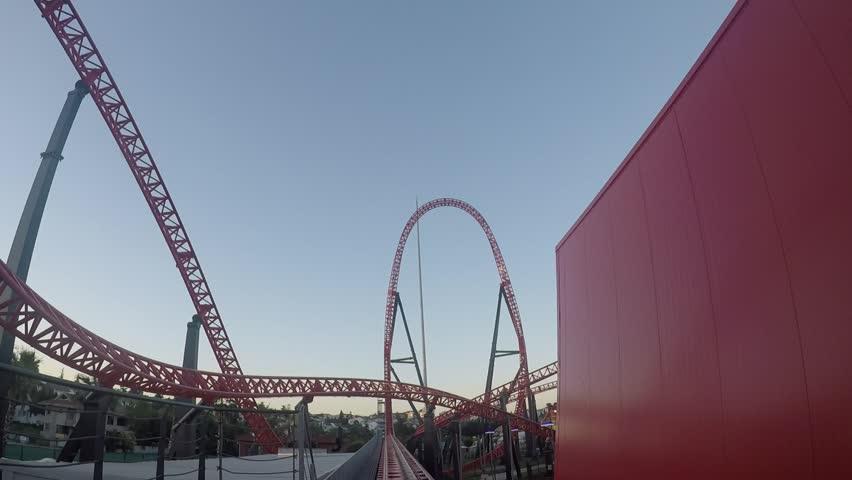Istanbul / Turkey - July 01, 2017: Vaiport Tuzla Marina, ViaSea Theme Park Red Fire Roller Coaster