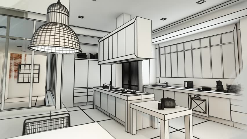 3D animation of a modern urban kitchen evolving  from a wireframe rendering to a realistic color rendering #1026094508