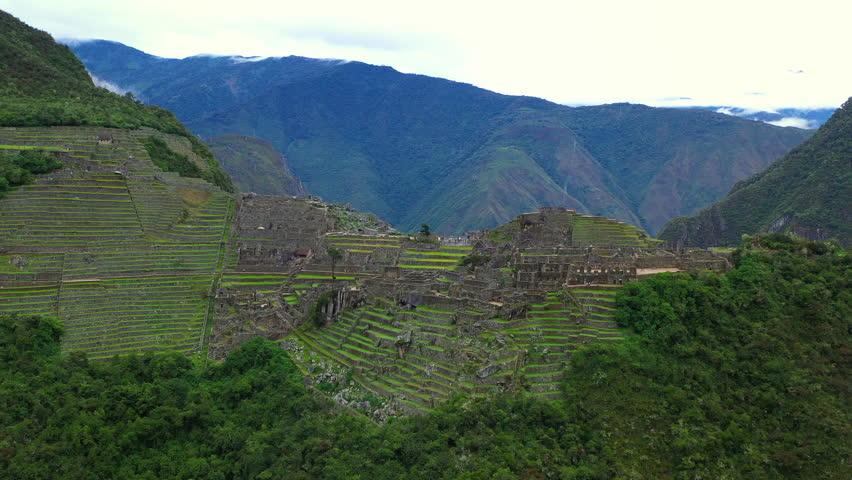 Aerial drone view of Machu Picchu ancient Inca ruins. Peru, Latin America