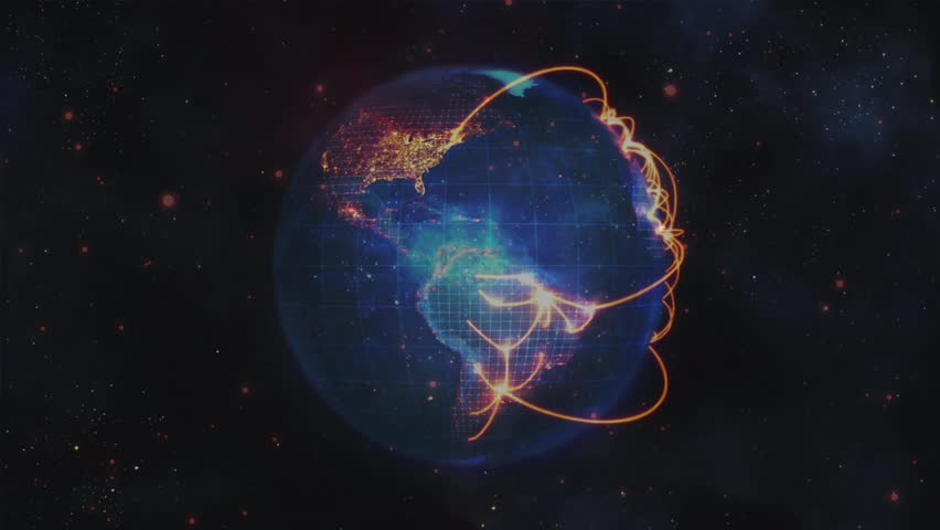 Digital composite of globe turning around itself while gold links are made between big city on night background with pink stars animation | Shutterstock HD Video #1026108194