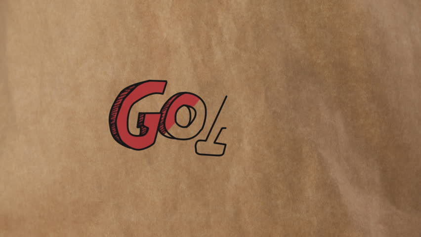 Digital composite of goal written in big red letters outlined in black against cardboard paper. | Shutterstock HD Video #1026119156