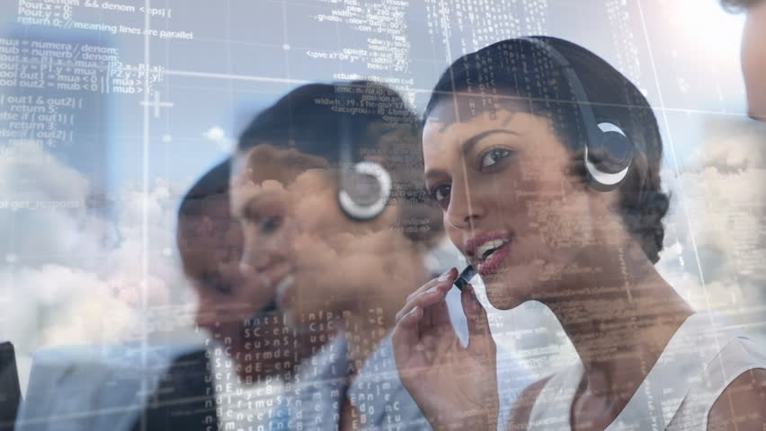 Digital composite of multi ethnic group of employees with headset working at call centre while binary codes move on the foreground and clouds on the background. | Shutterstock HD Video #1026120269
