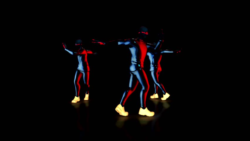 Male dance group performs in futuristic metallic neon costumes, 3D Rendering Animation. | Shutterstock HD Video #1026123497
