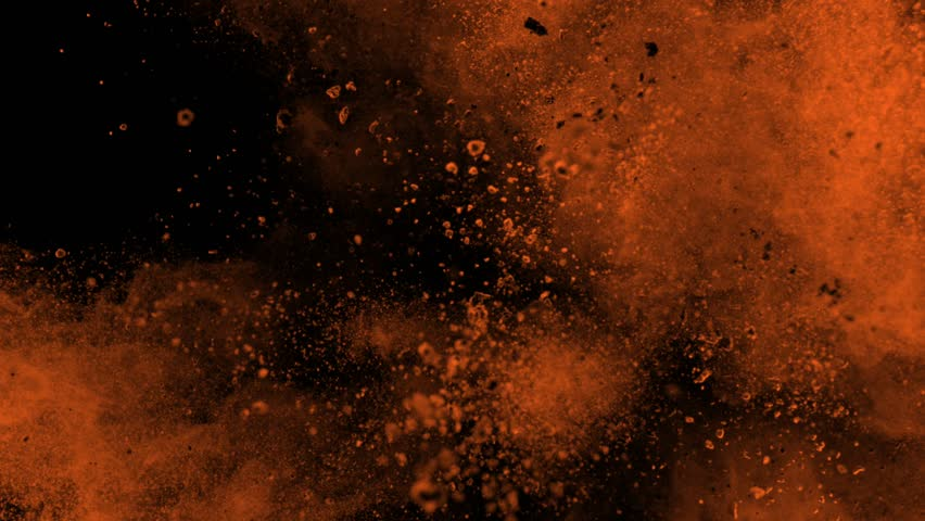 Super slowmotion shot of golden powder explosion isolated on black background. #1026126356