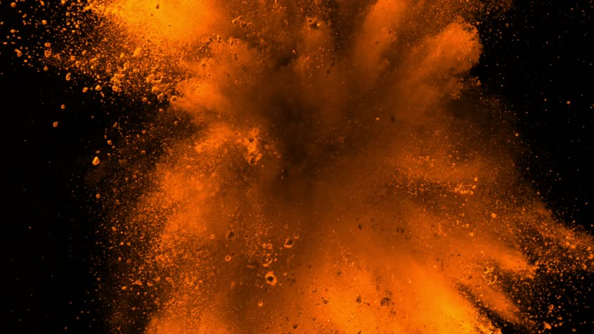 Super slowmotion shot of golden powder explosion isolated on black background. #1026126359