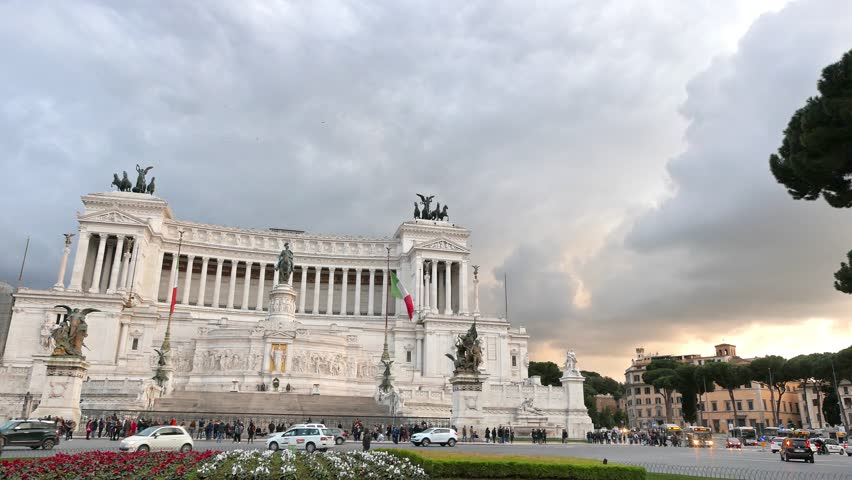 Glitch effect. Vittorio Emanuele II (Vittoriano). Evening. Rome, Italy - February 22, 2015: constructed to designs of 1886 by architect Ennio De Rossi. it was open until 1911 | Shutterstock HD Video #1026155687