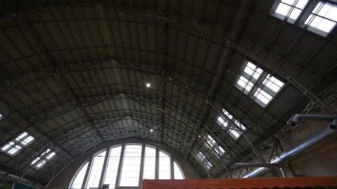 RIGA, LATVIA - MARCH 16, 2019: Riga Central market meat pavilion ceiling - Former zeppelin hangars - Rigas Centraltirgus