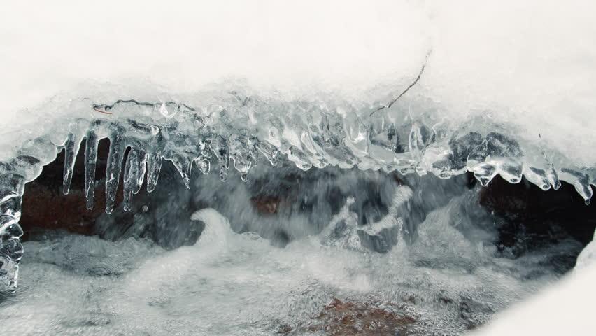 River Water Flowing Under Winter Powder Snow Close Up   Shutterstock HD Video #1026182696