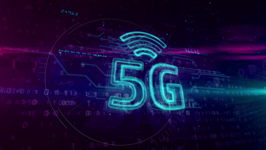 5G - 5th generation of mobile communication. High speed wireless cellular network for phone and IOT. 3D hologram symbol on dynamic digital background. Royalty-Free Stock Footage #1026192296