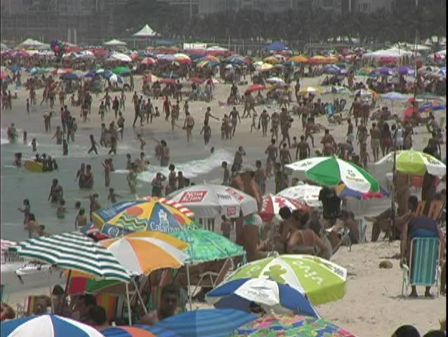 RIO DE JANERIO, BRAZIL, 2004, Copacabana Beach, close up of people on the beach