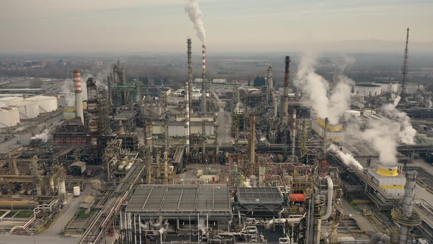 Big oil refinery, aerial view