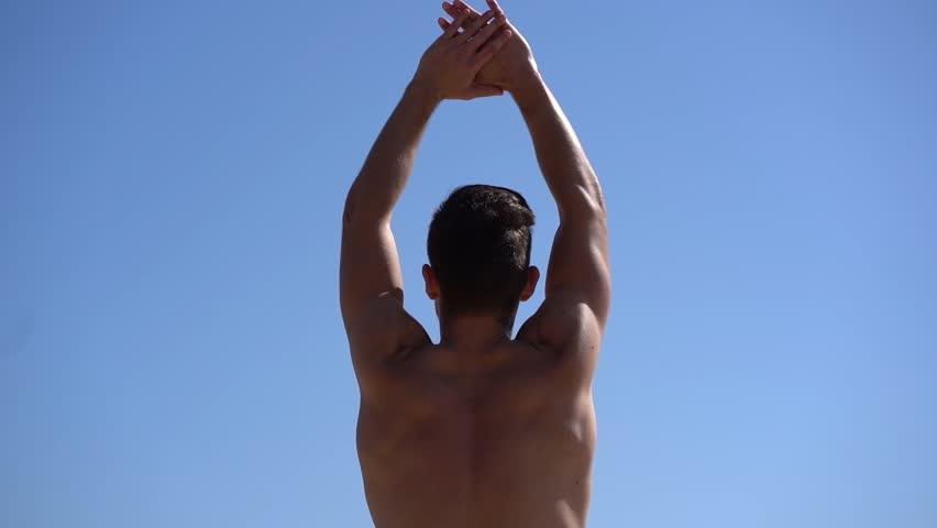 Man young outdoors trees shirtless photos