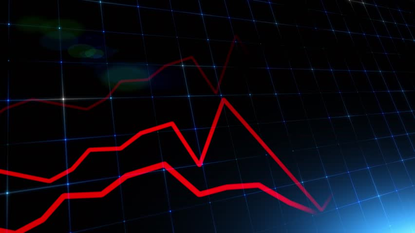 Artistic financial business chart with red diagrams and blurry stock numbers showing losses over time.  | Shutterstock HD Video #1026251423