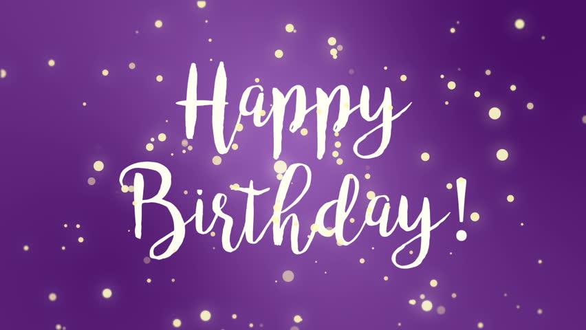fun purple happy birthday greeting stock footage video